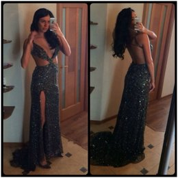 Wholesale Long Glitter Formal Dresses - Glitter Mermaid 2016 Sexy Evening Dresses Deep V Neck Sleeveless Backless Sweep Train Split Side Black Sequined Long Formal Party Gowns