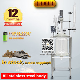 Wholesale Reactor Vessel - Jacketed reactor glass vessel vacuum reactor for lab chemistry laboratory equipment 10L reaction vessel double layer reaction kettle