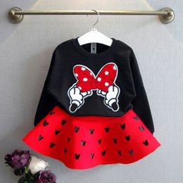Wholesale Skirt Long Child - Girls 2 pcs Suits 2015 New Autumn Girls lovely Bow Sweatshirts+ Mickey hollow skirt 2 pcs Sets children clothes C001