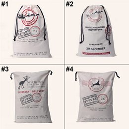 Wholesale Christmas Drawstring Bags Wholesale - Factory sale Large Canvas Monogrammable Santa Claus Drawstring Bag With Reindeers, Monogramable Christmas Gifts Sack Bags