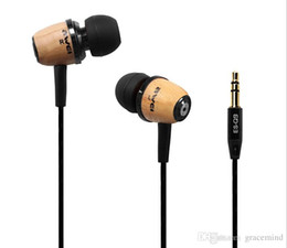 Wholesale Wooden Headphones - AWEI Earphone 3.5MM Jack In-Ear Headset Super Bass Wooden Headphone Noise Cancelling Ear Buds For PC MP3 ES-Q9