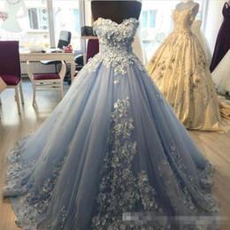 marfil 15 años vestidos Rebajas Azul claro vestido de fiesta Vestidos de noche con apliques florales en 3D Más tamaño Vestidos de baile Dulces 16 vestidos Corazón corsé Vestido de tul quinceañera