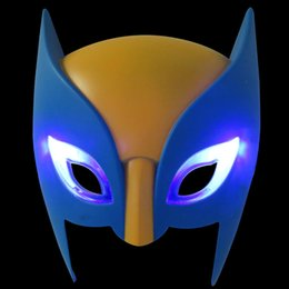 Wholesale Cartoon Masks For Sale - Wolverine Cartoon Anime Kids Mask PVC Half Face Shiny Birthday Party Mask HOT Sale Children Cosplay Mask with Light 10pcs lot SD346 Discount