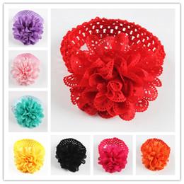 Wholesale Dress Baby Promotion - Baby Girl New Promotion Chiffon Lace Flower Crochet Headband Baby Girls headbands lot Dress Up Head band
