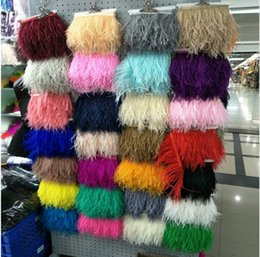 Wholesale Real Trim - 5 Meters Long 10-15 cm Wide 14 Colors High Quality Real Ostrich Feather Trims For Skirt Dress Costume Ribbon Feather Trim