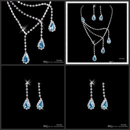 Wholesale Types Earring Clasps - Fshion Rhinestone Blue Crystal Jewelry Necklace Earring Set Ear Clip type Lobster clasp Party Prom Wedding Bridal Earrings Necklace 15015A
