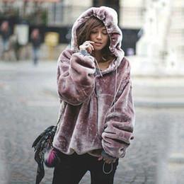 Abrigo largo de terciopelo púrpura online-2017 invierno sudadera abrigo mujeres abrigo de piel de fax de manga larga capa de terciopelo púrpura moda mujeres abrigos con capucha sudadera abrigos