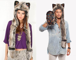 Wholesale Long Wolf Hat - coulorful Warm Winter Thicken Scarf Fashion Unisex Lovers Animal Cap Warm Hat Fur Hat Long Ears Cap Grey Wolf Hood Beanies