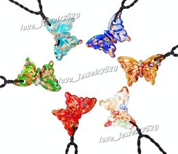 "Wholesale Butterfly Murano Glass Pendants - Colorful Butterfly Gold Dust foil glitter lampwork venetian Murano Glass Pendant Necklace 6pcs Set with 19.7"" Black Cord"
