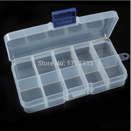 Wholesale Earring Boxes Plastic - Free shipping 600pcs Adjustable 10 Compartment Plastic Clear Storage Box for Jewelry Earring Tool Container boxes #TUO-545