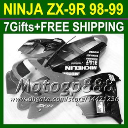 Wholesale 98 Zx9 Fairing Kits - 7gifts Body For KAWASAKI Black Grey ZX9R NINJA ZX-9R 1998-1999 ZX 9R P16154 ZX9 R Free shipping NEW Grey black+ 98 99 1998 1999 Fairing Kit