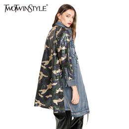 Wholesale Vintage Cardigans For Women - Wholesale- TWOTWINSTYLE Sequins Camouflage Jeans Bomber Coat Female Jacket Cardigan Top Denim Jackets for Women Windbreaker Clothes Autumn
