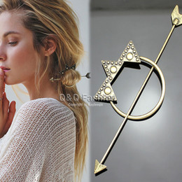 Wholesale Victorian Hair - Victorian Gold Dot Triangle Hoop Arrow French Updo Hair Pin Clip Dress Stick Jewelry Free Shipping