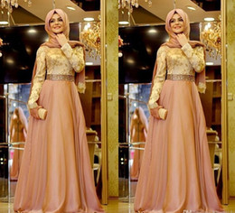 Wholesale Formal Hijab - Elegant Lady Muslim Prom Dresses Beaded Sashes Hijab Long Sleeves Arabic Women Formal Gowns Chiffon A Line Shiny Fashion Dresses