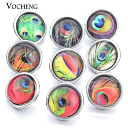 Wholesale Peacock Feathers Jewelry - VOCHENG Noosa Mix 10pcs bag Small 12mm Peacock Feathers Button Snap Interchangeable Jewelry Ginger Snap Jewelry (Vn-528)
