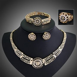 Wholesale Egyptian Rings - Wholesale-2015 New Arrival 18k Gold Filled Austrian Crystal Ancient Egyptian Bridal Statement Necklace Bracelet Earrings Ring Jewelry Sets