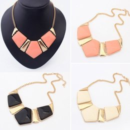 Wholesale Choker Celebrity - 1pc Celebrity Stylish Nice Stone Pendant Gold Chain Choker Statement Necklace