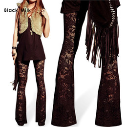 Wholesale Wholesale Bell Bottom Leggings - Wholesale-New Sexy Women Lace Legging Bell-Bottoms Peony Leggings Fashion Thin Fittens Girl's Plus Size Pants