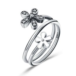 Wholesale Flower Bouquet Jewelry - Real 925 Sterling Silver Shimmering Bouquet White Enamel & Clear CZ Flower Women Finger Ring Engagement Jewelry Gift SCR076