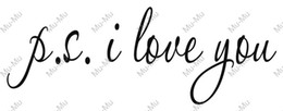 Wholesale Vinyl Wall Art Sayings - Wholesale-PS I LOVE YOU ... Modern Wall Sticker-56x23cm P.S. I Love You Vinyl Bedroom Art Mural Wall Quote Saying
