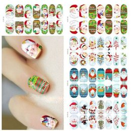 Wholesale Nail Sticker Glow - Luminous Glow Full Wraps Christmas Santa Nail Art Stickers Foils Tips