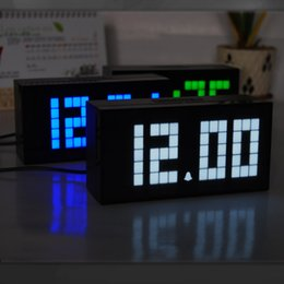 Wholesale Digital Light Display - Square LED Light Table Clocks With LCD Screen Display Digital Alarm Clock Multi Function Plastic Timepiece Popular 95ch B R