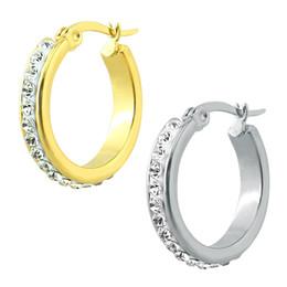 Wholesale Helix Piercing Earrings - Wholesale- Women Jewelry Crystal Hoop Earrings Stainless Steel Small Hoop Earrings For Women Crystal Earring Fashion Helix Piercing Jewelry