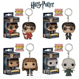 Wholesale Vinyl Figures Pop - Original Funko Pop Keychain Harry Potter Hermione Lord Voldemort PVC Keychains Vinyl Figure Collectible Model Toy With Original Box