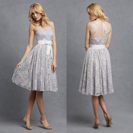 Wholesale Donna Brown - 2016 Donna Morgan New Sheer Jewel Neckline Homecoming Dresses Lace Appliqued Short Cocktail Dresses Elegant Wedding Party Dresses BA0123