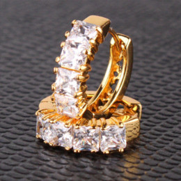 Wholesale 24k Gold Designer - Designer 2014 Fashion Jewelry Earring 24K Yellow Gold Plated Hoop Earrings White Zircon Earring Brincos E305d