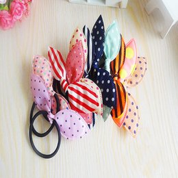 Wholesale Rope For Baby - Wholesale-Top 8Pcs Lot Mix Style Clips For Hair band Polka dot leopard trip hair rope Rabbit Ears scrunchy Hair tie Baby hair accessories