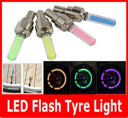 Wholesale Car Wheel Neon Lights - 2PCS Firefly Spoke LED Wheel Valve Stem Cap Tire Motion Neon Light Lamp For Bike Bicycle Car Motorcycle.