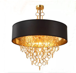 Wholesale Black Ceiling Chandelier - Modern Chandeliers with Black Drum Shade Pendant Light Gold Rings Drops in Round Ceiling Light Fixture LLFA