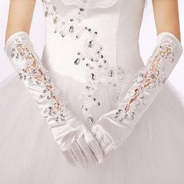 Wholesale Girls Wedding Gloves - Long Beads Bridal Wedding Accessories Crystal Rhinestone Bowknot Appliques Lace Satin Flower Girl Glove Free Shipping ZYY
