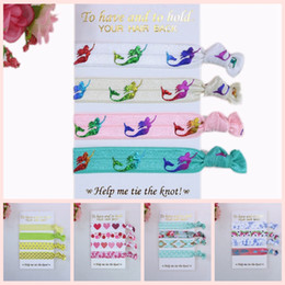 Wholesale Printed Elastic Hair Ties - 4 Pcs Per Set 40 Pcs Per Lot (10 Sets )Foe Fold Over Elastic Hair Ties with Card ,Welcome Custom Printed Fashion Hairbands Children Headwear