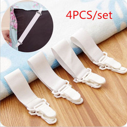 Wholesale White Clip Suspenders - 4 Pc Lot White Bed Sheet Mattress Cover Blankets Grippers Straps Suspenders Clip Holder Elastic Fasteners