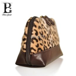 Wholesale Leopard Hair Clutch - Wholesale-Pu Leopard fur of Bohemian Clutches Like horse hair Handbag Small Winter's gift Fashion european and american Cosmetic bag