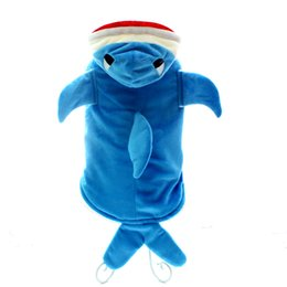 Wholesale Shark Dog - Winter Blue dog Jacket Coat pet puppy hoody clothes Shark Transfiguration equipment, ,4 sizes availbale