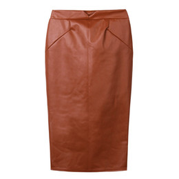 Wholesale Plus Size Leather Pencil Skirt - 2016 Sexy Ladies Pu Leather Long Skirt OL Women Slim Hip Knee Length High Waist Straight Career Pencil Skirt Plus Size