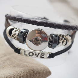 Wholesale handmade bracelet love - handmade black Love snap leather Bracelets Fit Snaps Buttons 18mm adjustable knot Free Shipping giger snap jewelry