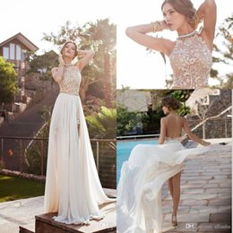 Wholesale Halter Backless Bohemian Dresses - 2016 Lace Applique Chiffon Prom Dresses Halter Beaded Crystals Short Side Slit Evening Gowns Bohemian Beach Bridal Dresses CPS231