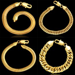 Wholesale Jewelry Gold For Man Price - Factory Price Promotions! 18K Yellow Gold Plated Charm Bangle Bracelets For Men Top Quality Fashion Jewelry Bracelets Wholesalers