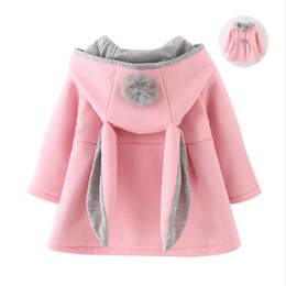 Wholesale Cute Rabbit Wearing Clothes - Cute Rabbit Ear Hooded Baby Girls Coat New Autumn Tops Kids Warm Jacket Outerwear & Coat Children Clothing Baby Wear Girl Coats