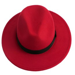 Wholesale Red Bowler - Wholesale-Men Women Jazz Bowknot Hard Felt Fedora Bowler Panama Wide Hat Brim Gangster Cap-J117