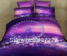 Wholesale Twin Wheels - New 2014 London Eye Ferris Wheel printing purple bedding set cotton queen duvet cover flat sheet bed linen comforter sets 4 5pc