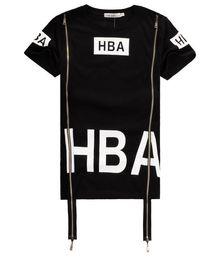 Wholesale Hood Air T Shirt - HBA Fashoin Hip Hop Streetwear Clothing Womens Mens Hood by Air Side Zipper T Shirt Effect Bone Black Shirt Top Men