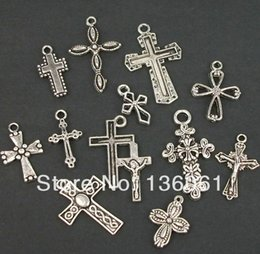 Wholesale Jesus Metal Pendant - 200PCS Fashion Vintage Silvers Mixed Jesus Cross Charms Pendant For Bracelets Necklace DIY Metal Jewelry Making Accessories P2002