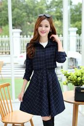 Wholesale Trenchcoat Women Autumn - Wholesale-Women Trench Coat 2015 Autumn Plaid Thin Skirt Trenchcoat Dress Cotton Long Coats Plus Size 5XL 6XL PS6871