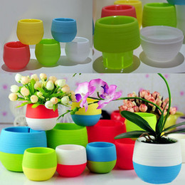 Piante da giardino a colori online-New Plastic Mini Plant Flower Pot Home Garden Office Decor Fioriere Facile da trasportare Patio Garden Forniture da giardino 5 colori WX9-176