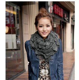 Wholesale Womens Wool Scarves - High Quality 2015 Fashion New Womens Winter Warm Knitted Layered Fringe Tassel Neck Circle Shawl Snood Scarf Cowl 13 Colors 0999